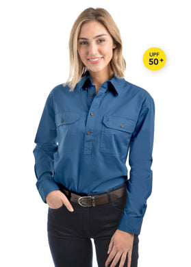 Light Drill Half Placket 2 Pocket Long Sleeve Shirt - Wedgewood