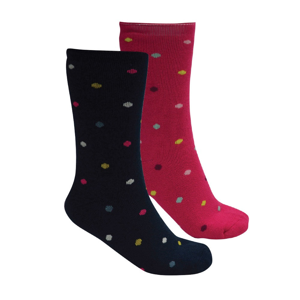 Kids Thermal Socks Twin Pack (Navy/Pink)