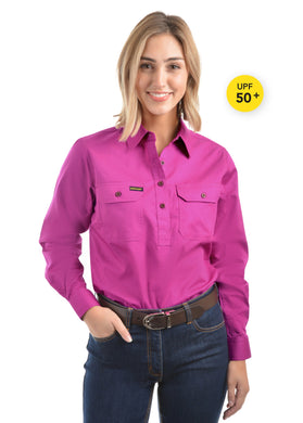 Womens Half Placket Light Cotton Shirt Fuschia