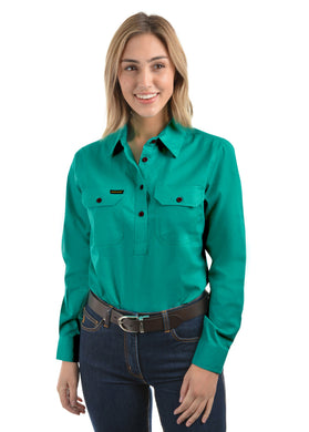 Womens Half Placket Light Cotton Shirt Turquoise