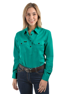 Womens Half Placket Light Cotton Shirt (Turquoise)