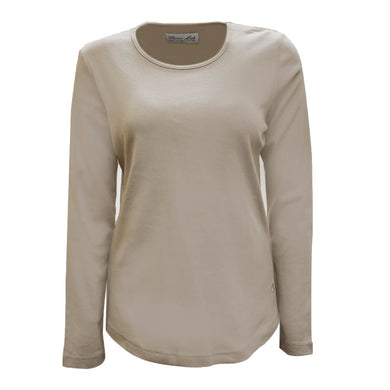 Womens Curved Hem L/S Top Pebble
