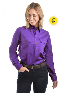 Light Drill Half Placket 2 Pocket Long Sleeve Shirt - Purple