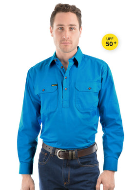 Mens Half Placket Light Cotton Shirt Bright Blue *