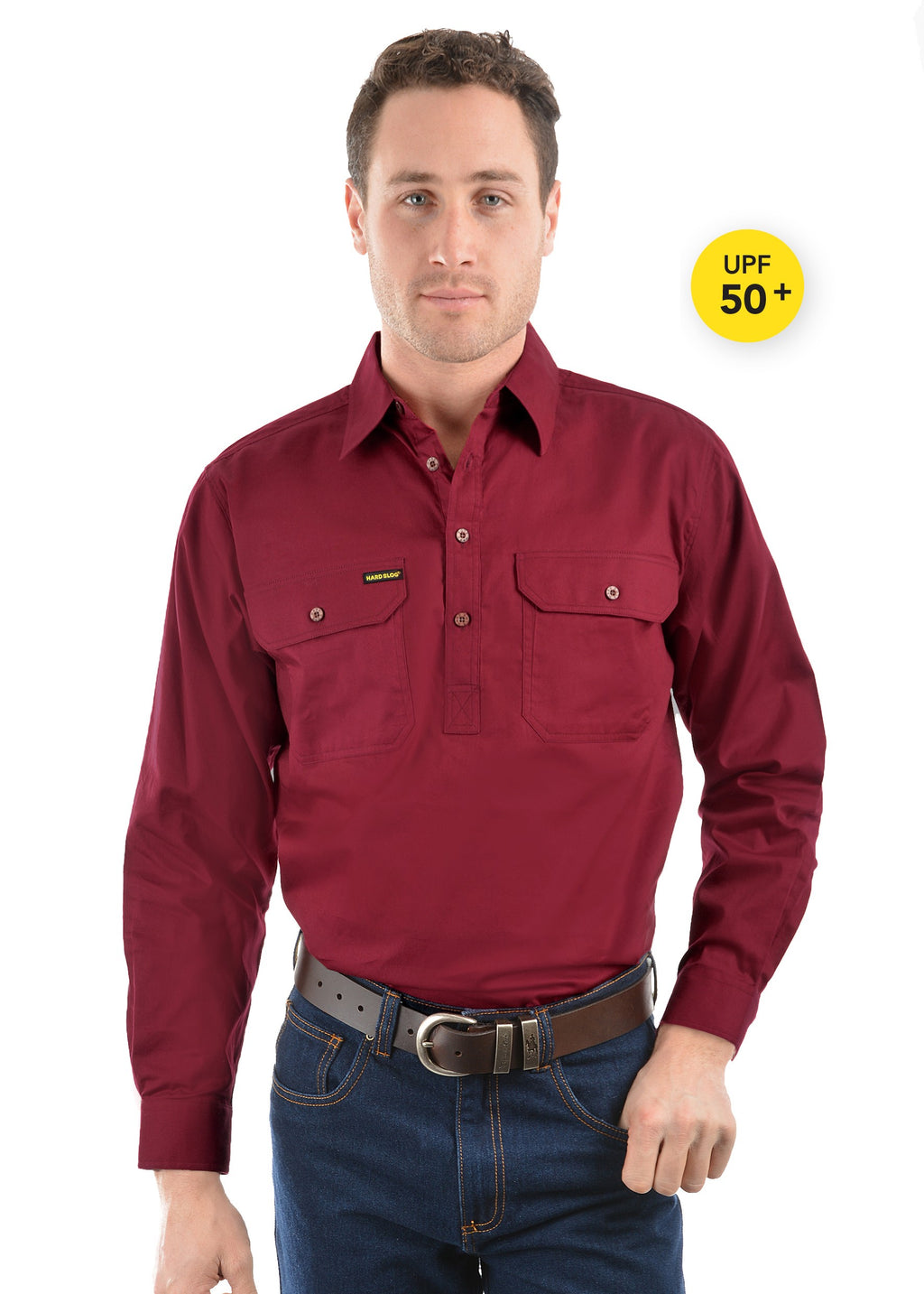 Mens Half Placket Light Cotton Shirt Burgundy