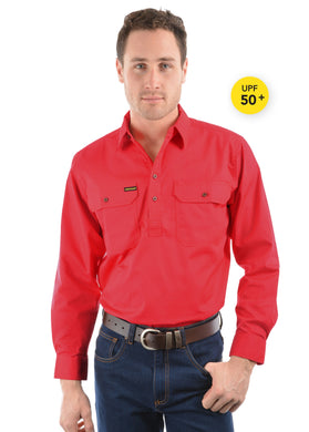 Mens Half Placket Light Cotton Shirt Bright Red