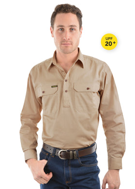Mens Half Placket Light Cotton Shirt Stone