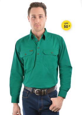 Mens Half Placket Light Cotton Shirt Green