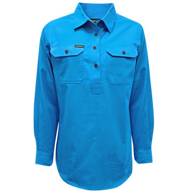Womens Half Placket Heavy Cotton Shirt - Bright Blue