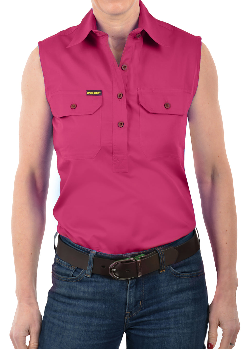 Womens Half Placket Light cotton Sleeve less Shirt - Fuchsia