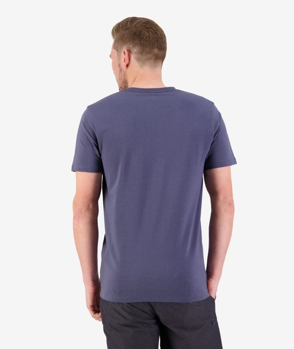 Mens Collegiate Printed Tee (Steel Blue)