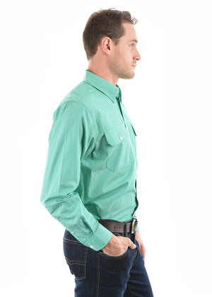 Mens Grafton Stripe 2-Pkt Shirt (Sea Green)