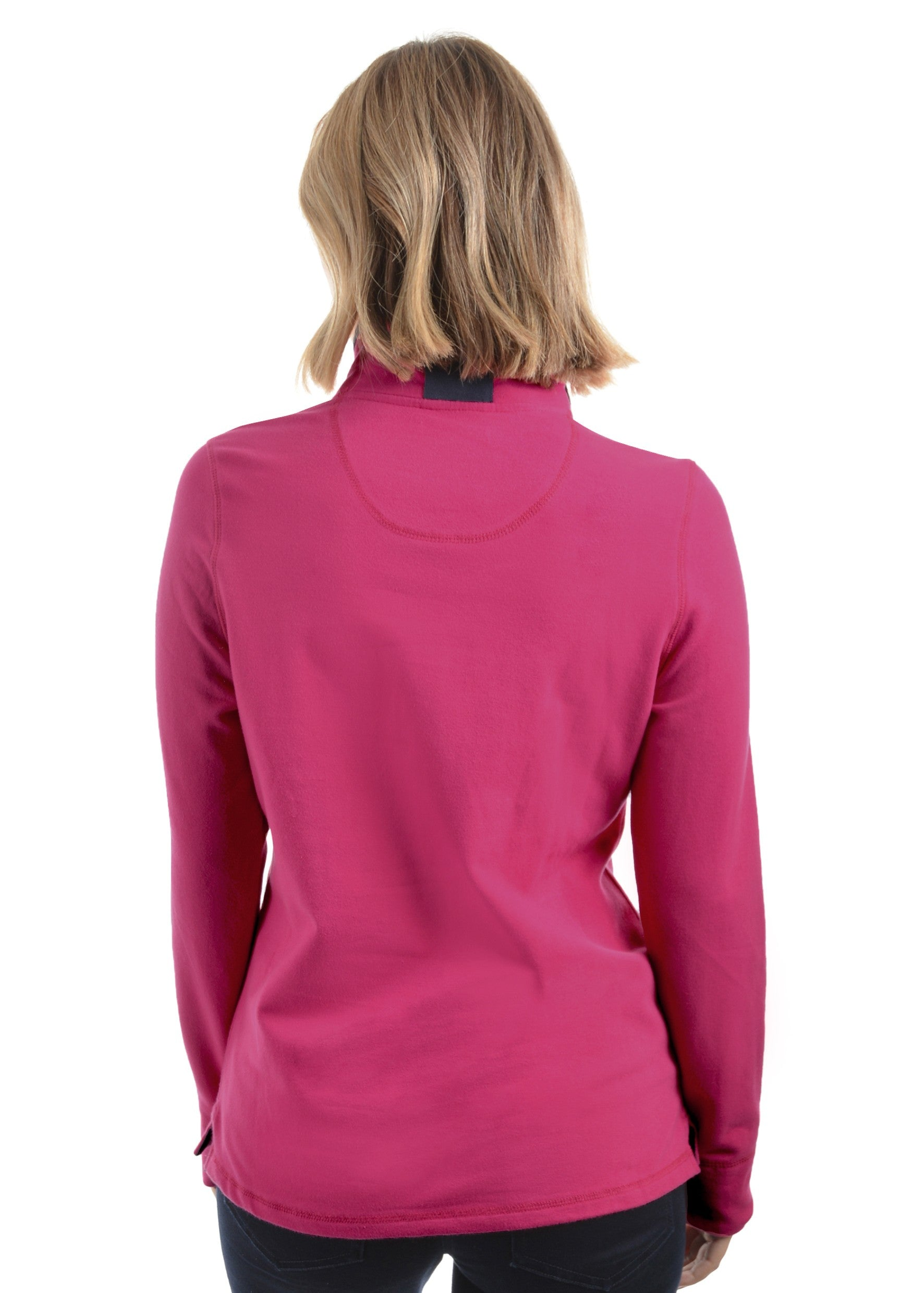 Womens Charlie Classic 1/4 Zip Neck Rugby (2 Colours) (Deep Pink)