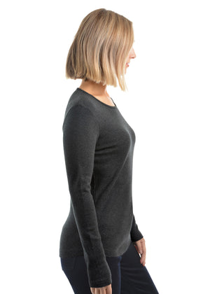 Womens Curved Hem L/S Top Dark Grey Marle