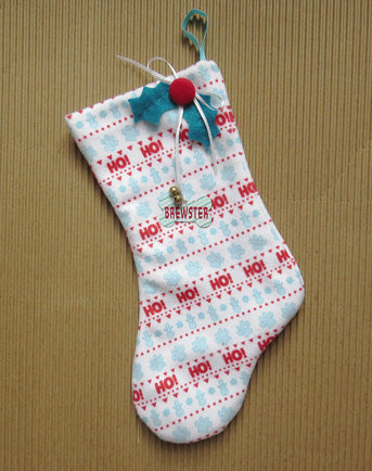 Dog's Christmas Stocking -Personalized, Blue Pattern