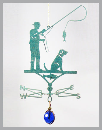 fisherman silhouette weathervane ornament