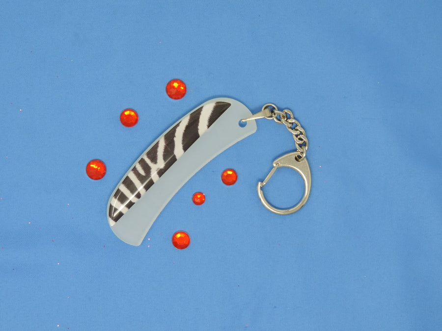 White Tiger Groove and Surface Glass Nail File Key Chain by Top Notch Nail Files