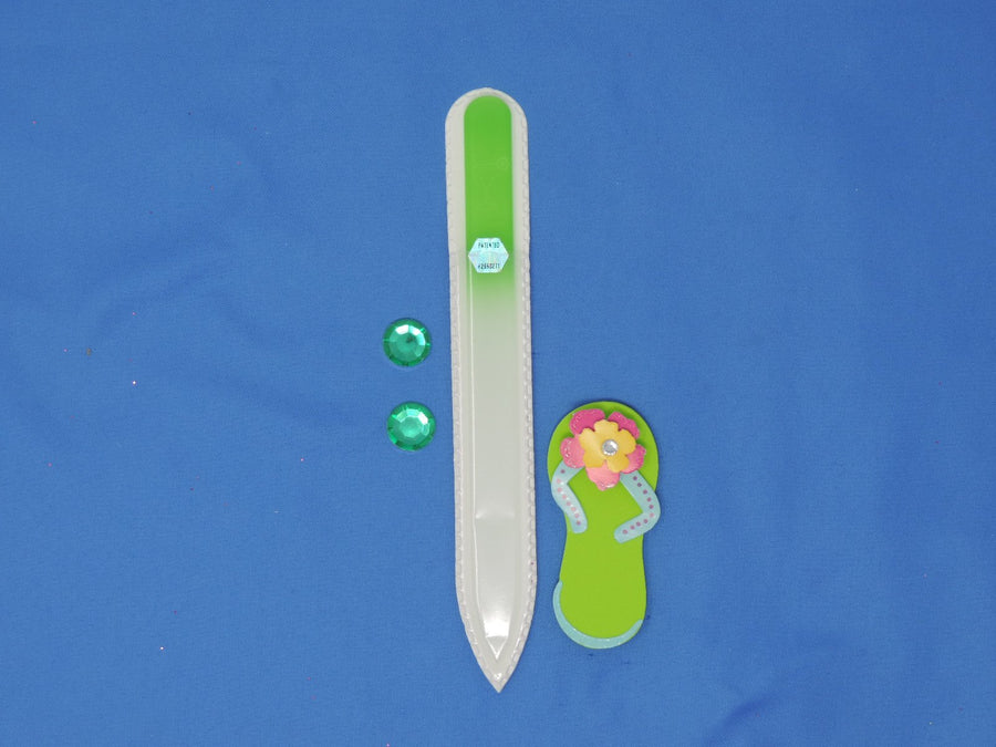 Margarita Glass Engraved Lime Medium Glass Nail File by Top Notch Nail Files