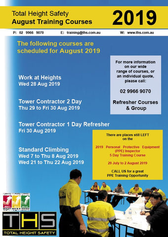Upcoming Training - August/September 2019 - Total Height Safety
