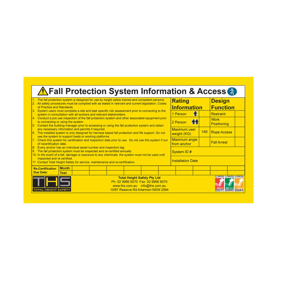 Fall Protection System Sign
