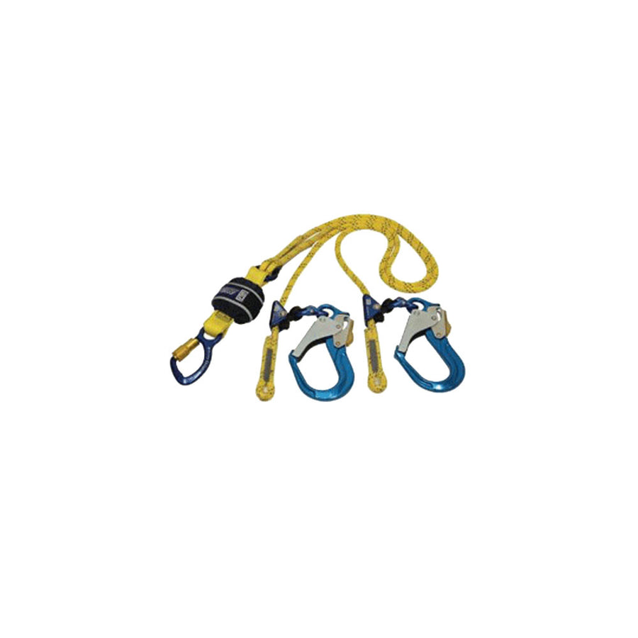Force2 Twin Adj Rope Lanyard - Scaffold Hooks