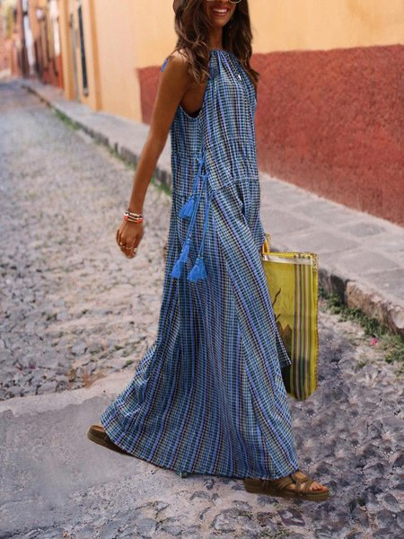 Bohemian Plus size Stripes Sleeveless dress