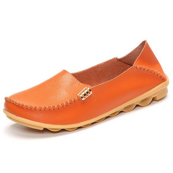 Big Size Pure Color Soft Slip On Leather Casual Comfortable Lazy Flat Shoes