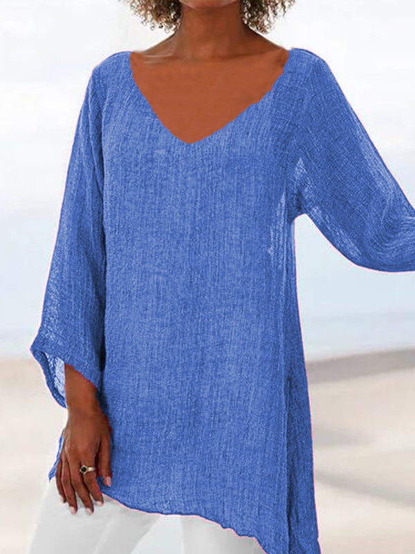 3/4 Sleeve Solid Casual V Neck Shirts & Tops