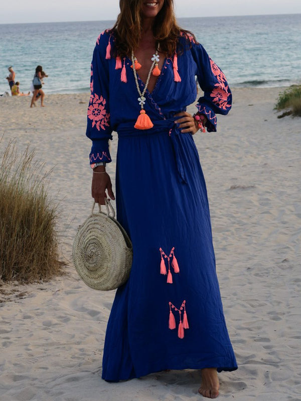 V neck Printed Casual Patchwork Maxi Dress