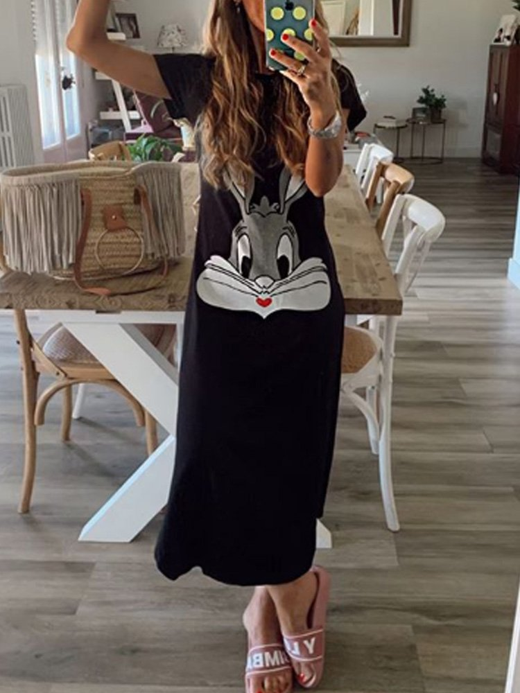 Animal Cotton-Blend Short Sleeve Dresses