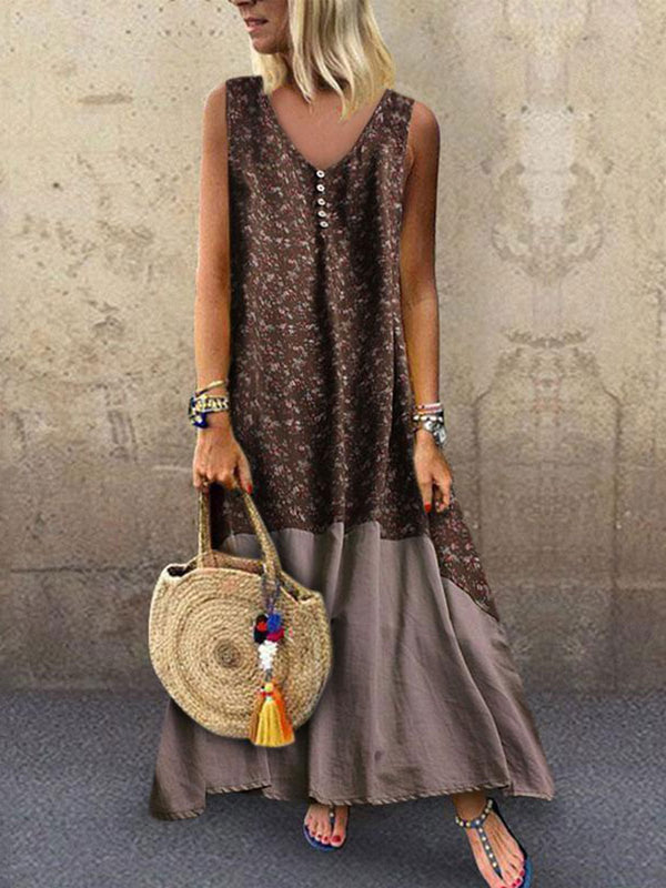 Sexy Round-Neck Bohemian Sleeveless Print Dress