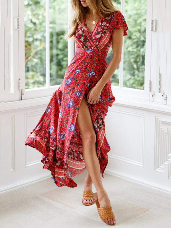 Sexy Holiday Long A-Line Beach Floral Dresses