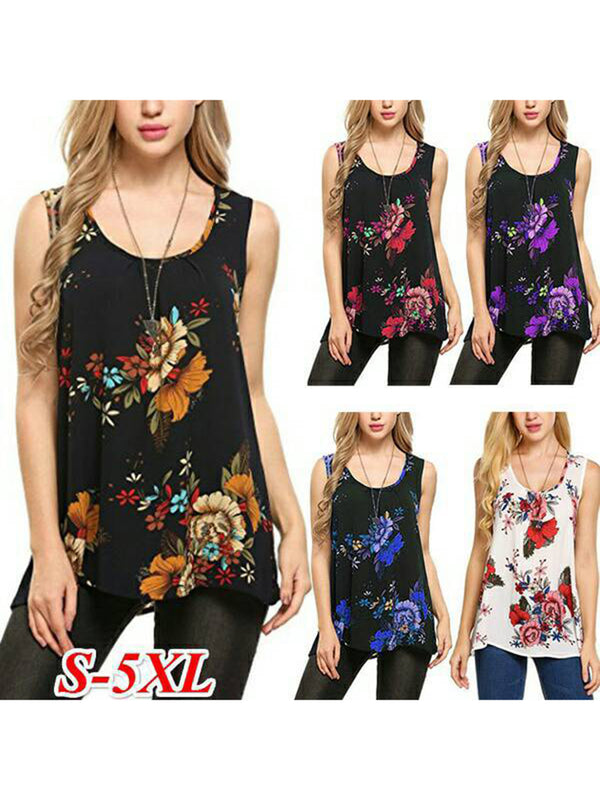 Floral Plus Size Simple & Basic 2019 Lady's Tanks Camis