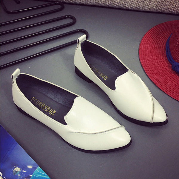 White Split Joint Slip-On Women's Loafers