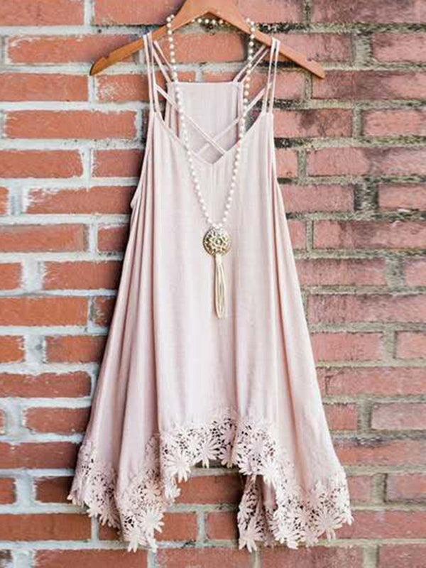 Summer Dress Laciness Asymmetrical Spaghetti Dresses