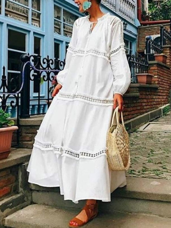 Plus Size V Neck Lantern Sleeve Hollow Out Maxi Fall Dress