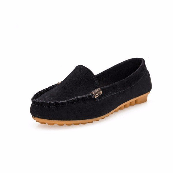 Suede Metal Slip On Pure Color Flat Casual Moccasin