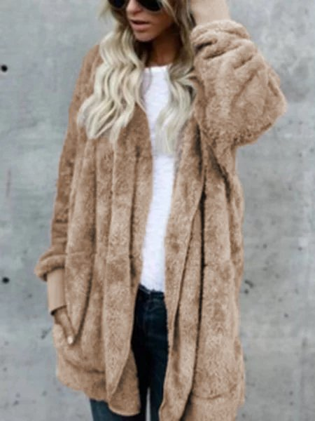 Hoodie Casual Batwing Reversible Shift Fluffy Coat