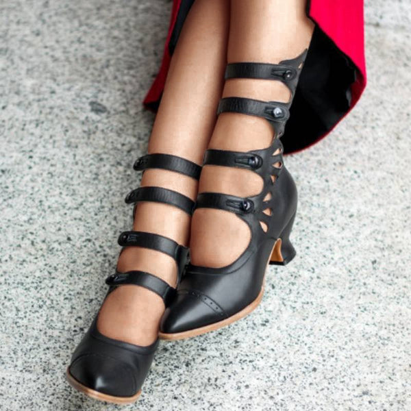 Women Vintage Button Boots Shoes