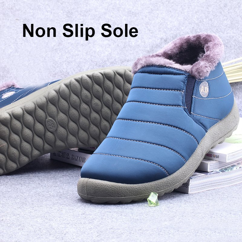 Waterproof Cloth Slip On Casual Boots