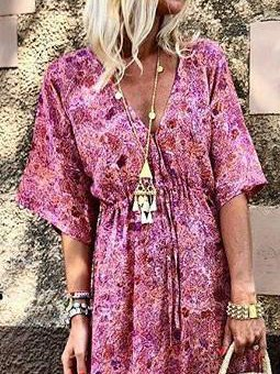 Pink Cotton-Blend Casual Floral V Neck Dresses