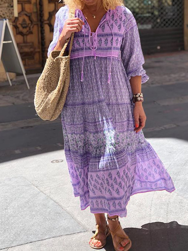 Boho Floral Maxi Dresses Shift Women Long Sleeve Beach Dresses