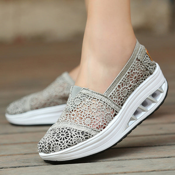 Breathable Lace Hollow-out Platform Slip On Sneakers