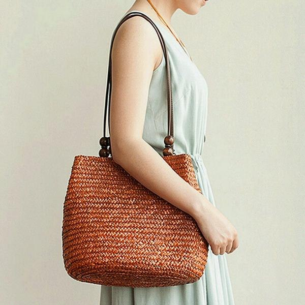 Women Straw Bag Handbags Beach Vacation Woven Tote Bag Solid Leisure Shoulder Bag