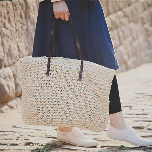 Womens Handmade Straw Casual Zipper Shoulder Bags