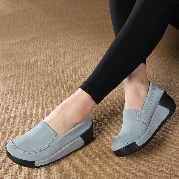 Wedge Heel Women Suede Loafers