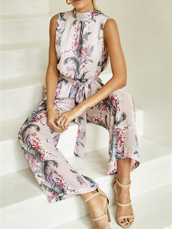 Light Pink Holiday Floral Stand Collar Printed Jumpsuit