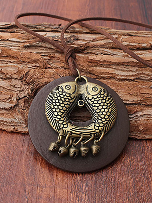 Brown Fish Alloy Necklaces
