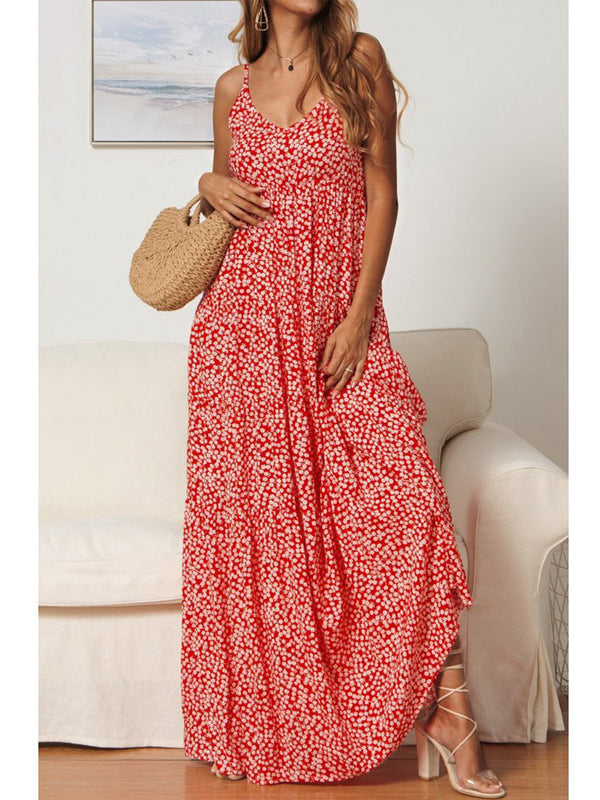 Spaghetti Sleeveless Printed Dresses