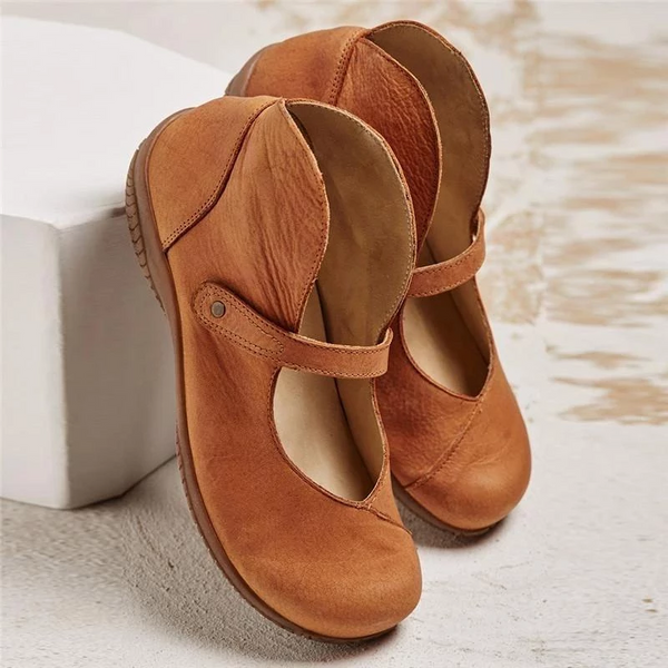 Women Handmade Flat Magic Tape Retro Casual Mary Jane Sandals